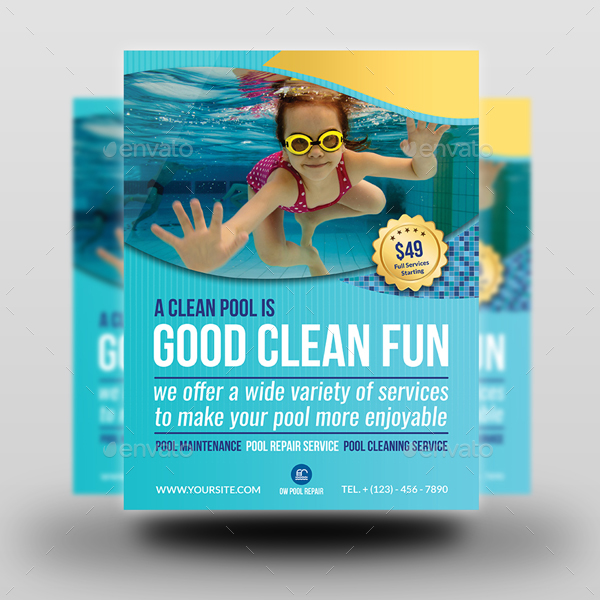 Swimming Pool Cleaning Service Flyer Template by OWPictures