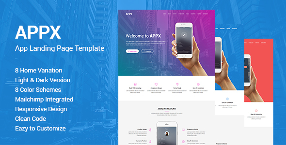 Appx - Responsive App Landing Page Template by ThemeAone ThemeForest - app landing page template