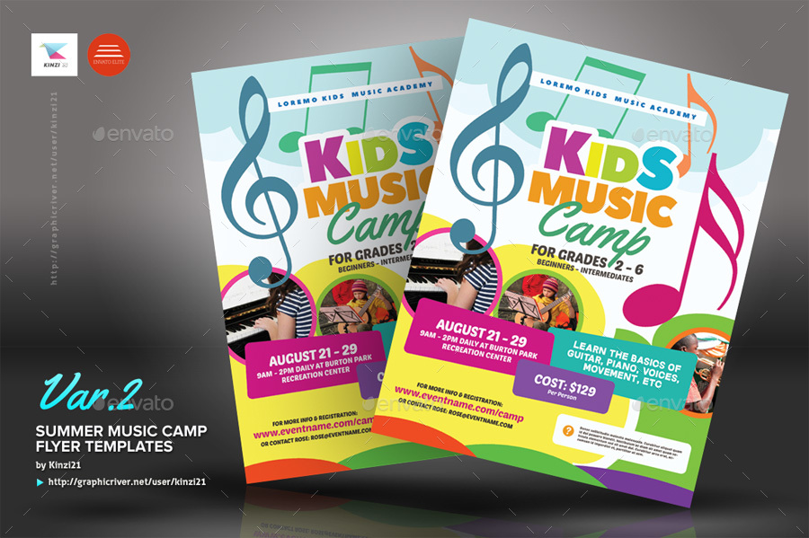 Summer Music Camp Flyer Templates by kinzi21 GraphicRiver