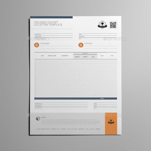 Delivery Docket US Letter Template by Keboto GraphicRiver