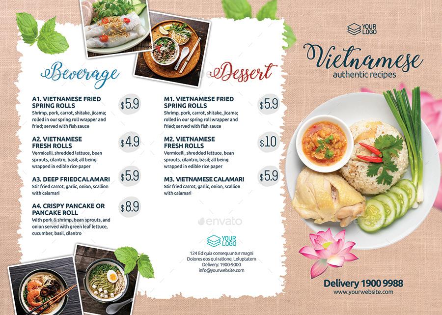 Menu Tri-fold Flyer Template for Vietnamese Restaurant by tunagaga