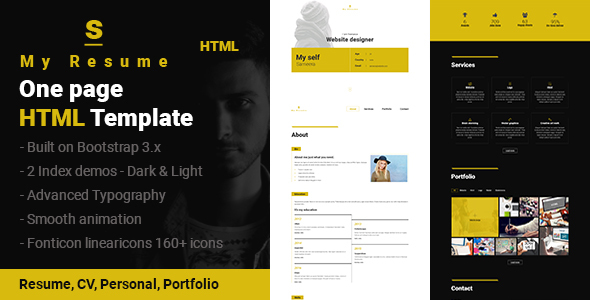 S - Resume, CV, Portfolio One Page HTML Template by Sushan_Jariwala