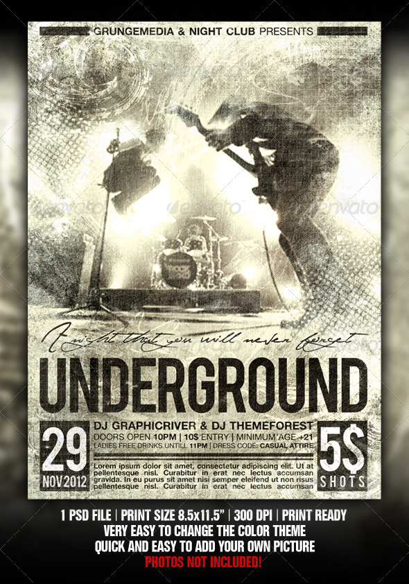 Grunge Party / Concert Poster by Fadeink GraphicRiver