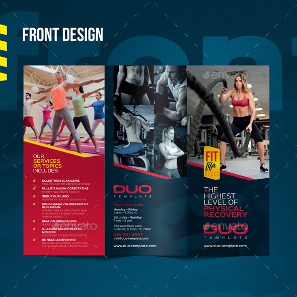 Fitness  Gym Tri-fold Brochure by CookyCat GraphicRiver