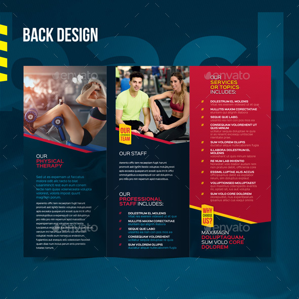 Fitness  Gym Tri-fold Brochure by CookyCat GraphicRiver - Fitness Brochure