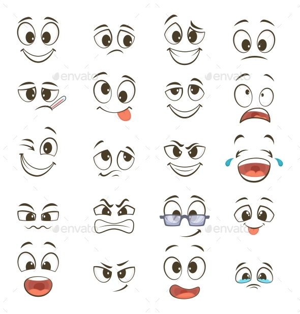 Cartoon Faces with Different Expressions by ONYXprj GraphicRiver