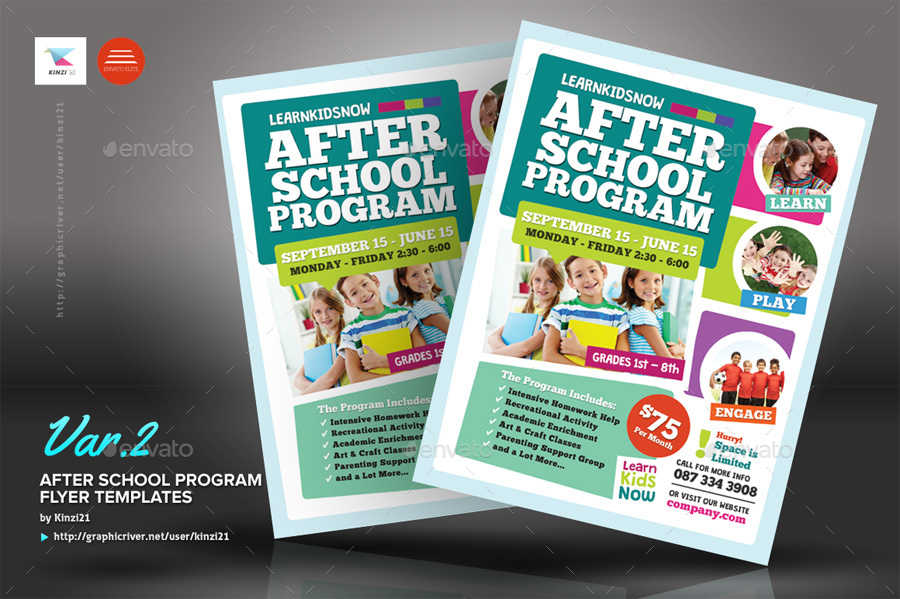 After School Program Flyer Templates by kinzi21 GraphicRiver - advertising flyer template