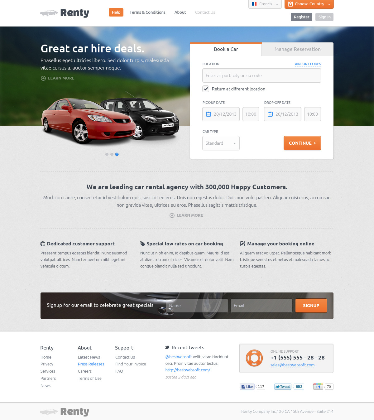 Booking Site Renty Car Rental Booking Html5 Template