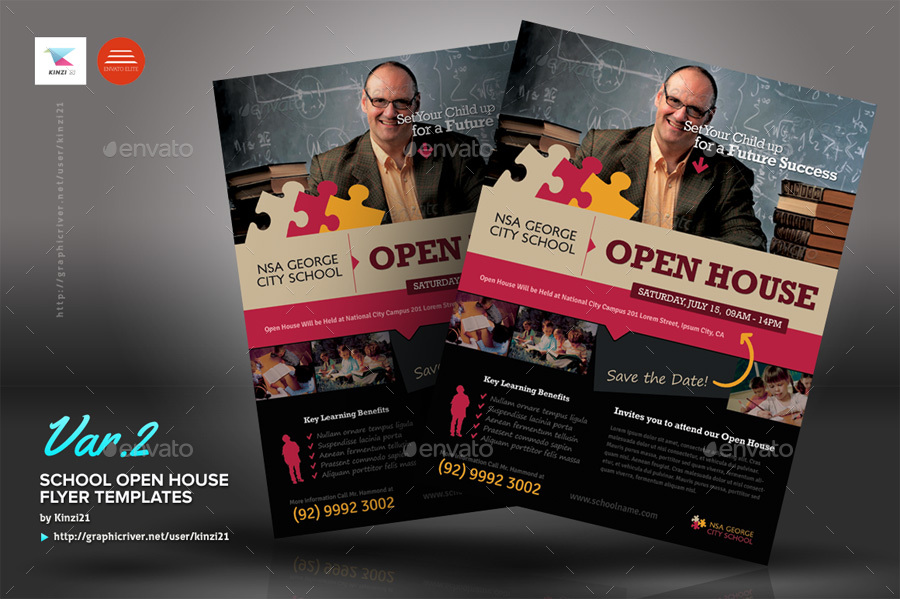 School Open House Flyers by kinzi21 GraphicRiver - open house flyer