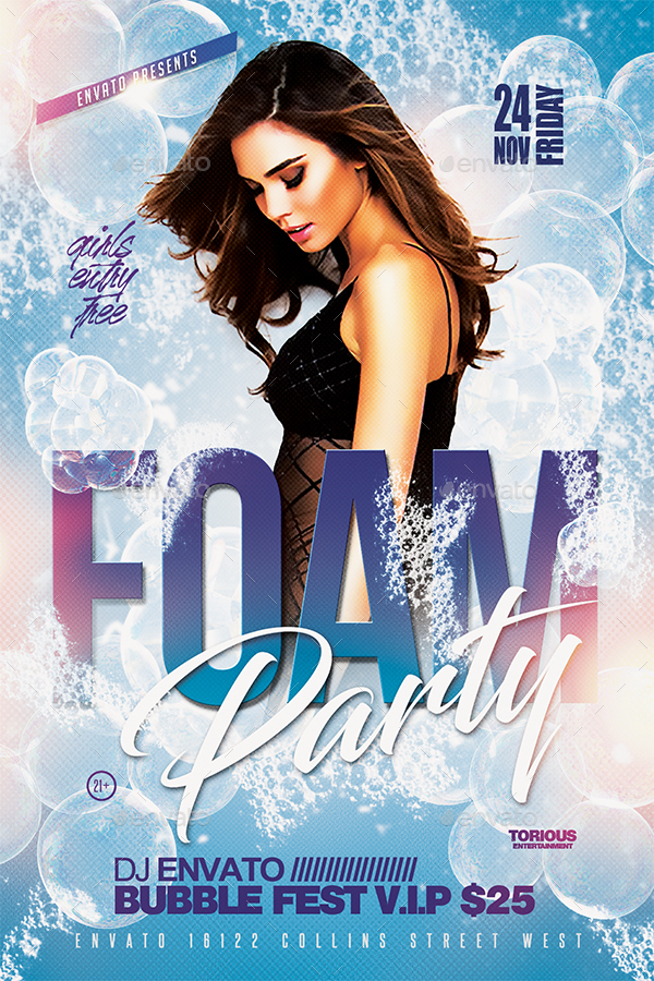 Foam Party Flyer Template by Take2Design GraphicRiver - party brochure template