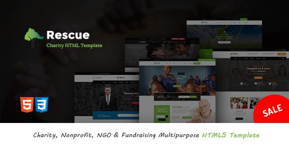 Rescue - Charity, Nonprofit, NGO  Fundraising Multipurpose HTML5