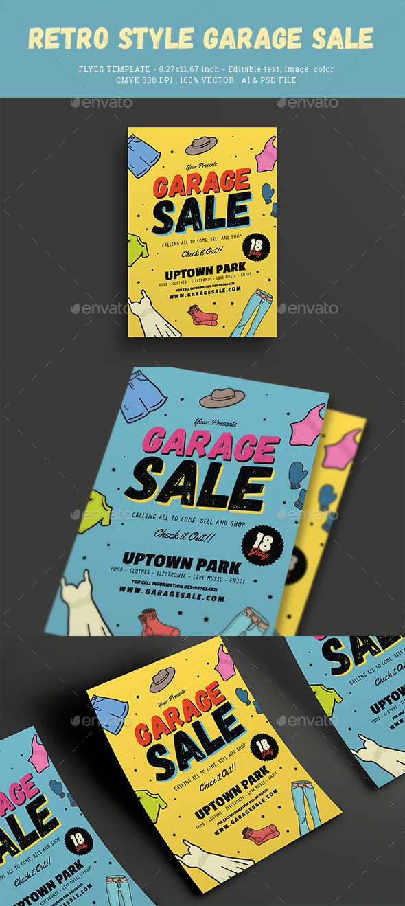 Retro Style Garage Sale Flyer by Guuver GraphicRiver