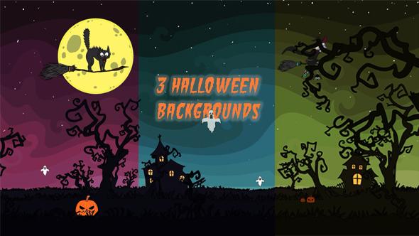 3 Cartoon Halloween Backgrounds by OrkhanTheStargazer VideoHive