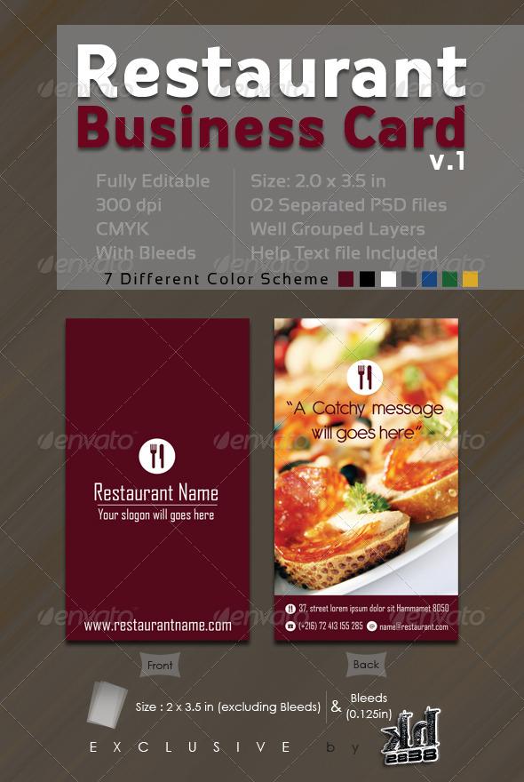 Restaurant Business Card V1 by kh2838 GraphicRiver