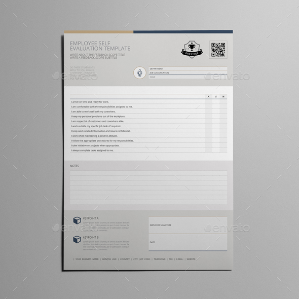 Employee Self Evaluation Template by Keboto GraphicRiver - self review template