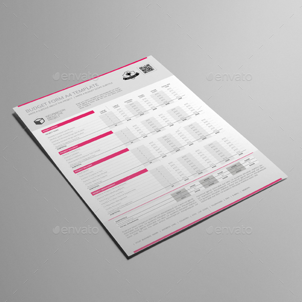 Budget Form A4 Template by Keboto GraphicRiver - free budget form