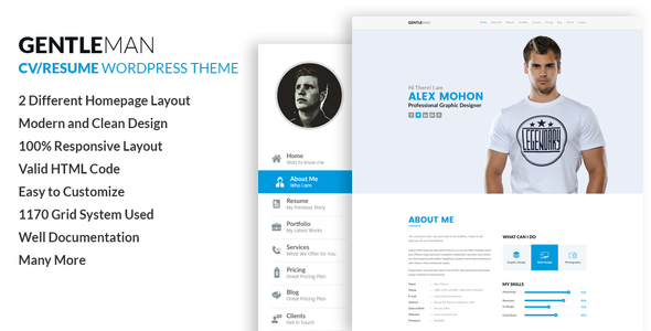 GentleMan- vCard  CV Resume WordPress Theme by codexcoder ThemeForest - resume wordpress theme