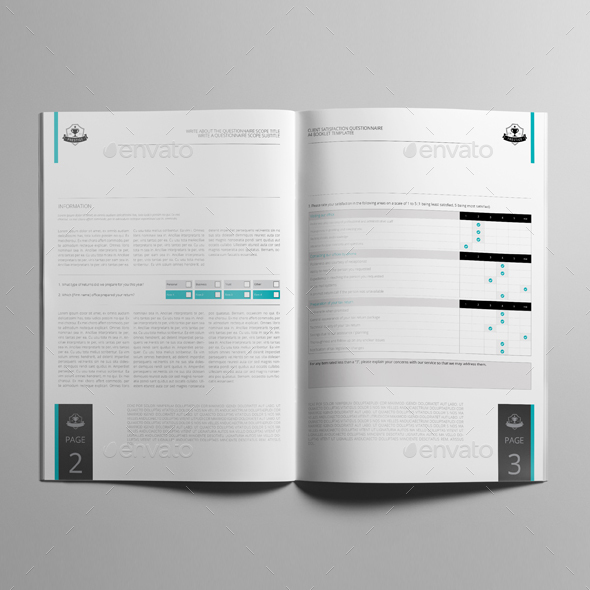 Client Satisfaction Questionnaire A4 Booklet Template by Keboto - booklet template