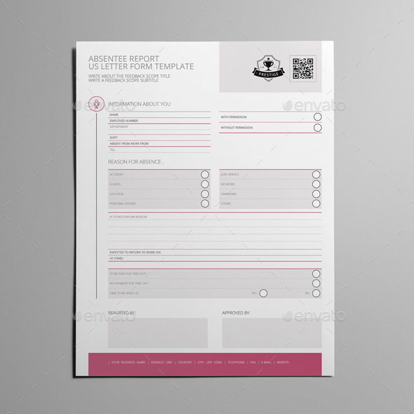 Absentee Report US Letter Form Template by Keboto GraphicRiver