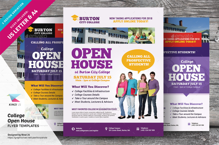 College Open House Flyer Templates by kinzishots GraphicRiver - open house flyer