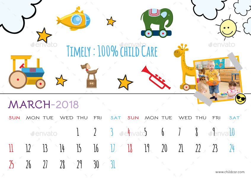 Kids Desk Calendar by GraphicShaper GraphicRiver