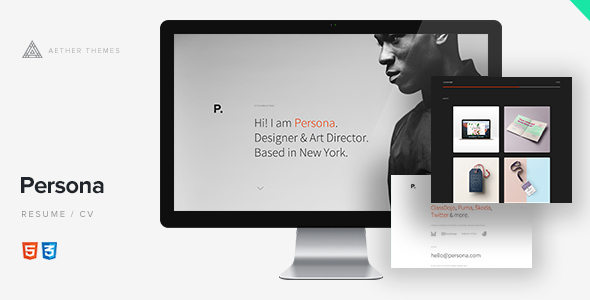 Persona - Minimal Resume/CV Template by Aether-Themes ThemeForest - resume cv templates