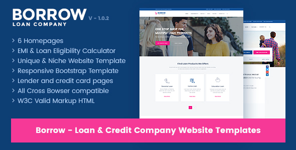 Borrow - Loan Company Responsive Website Templates by jitu - loan templates