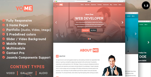 YoMe - Multipurpose Resume Joomla Template by leoalv ThemeForest - video resume website