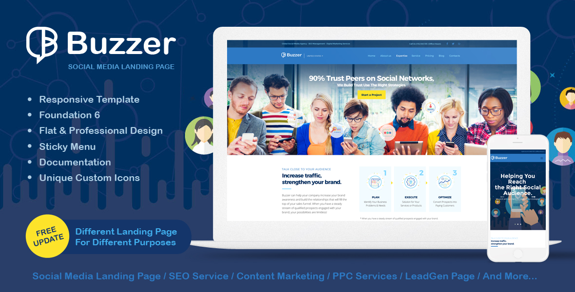 Buzzer - Responsive Social Media Landing Page by afahmy ThemeForest