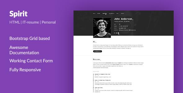 SpirIT \u2014 Portfolio  Resume HTML Template for Developers