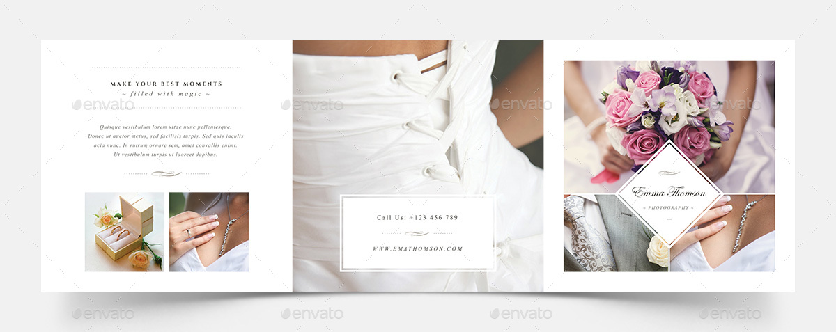 Photography Square Trifold Brochure Template by Agape_Z GraphicRiver - wedding brochure template