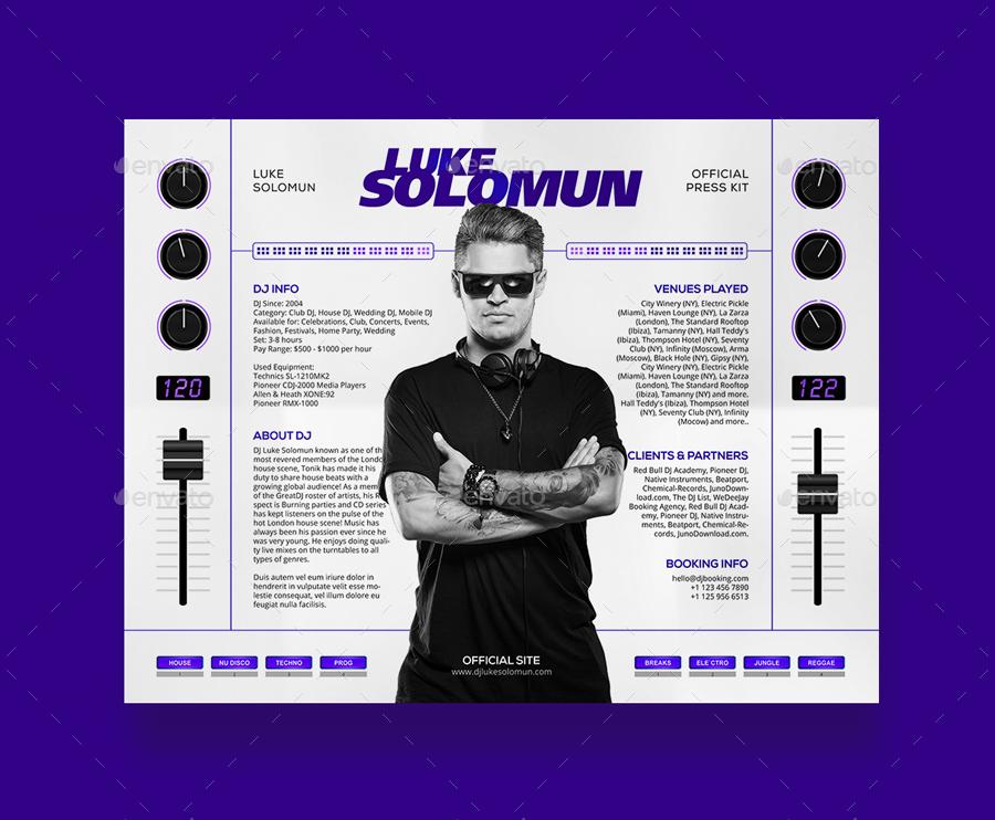 MaDJestik - DJ Press Kit / DJ Resume / DJ Rider PSD Template by