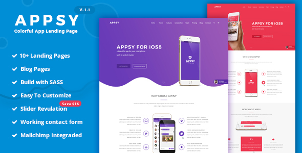 APPSY - Colorful App Landing Page Template by weThemez ThemeForest - app landing page template