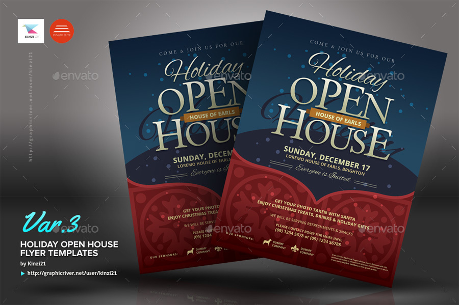 Holiday Open House Flyer Templates by kinzi21 GraphicRiver - open house flyer