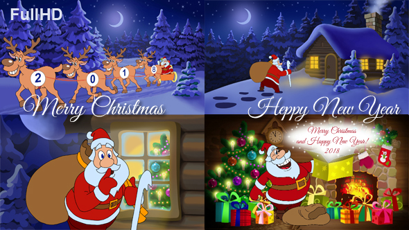 Merry Christmas And Happy New Year Animated Card by cartoontower