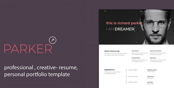 Parker Personal Portfolio /CV / Resume Template by theCreo - resume template website