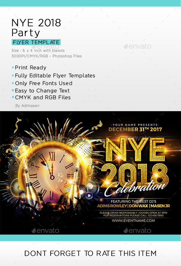 NYE 2018 Flyer Template by adimasen GraphicRiver