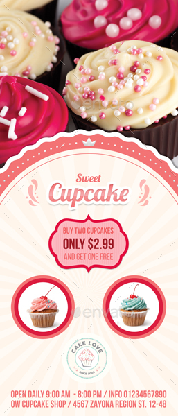 Cupcake Signage Banner Roll Up Template by OWPictures GraphicRiver