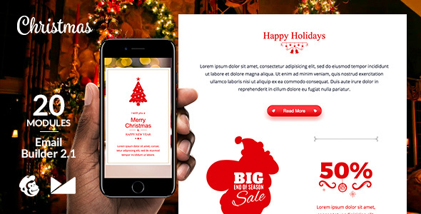 Merry X-Mas Email Template + Online Emailbuilder 21 by web4pro - merry email template