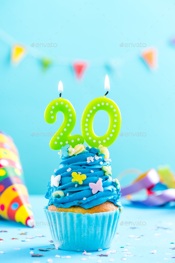 Twentieth 20th birthday cupcake with candle Card mockup Stock