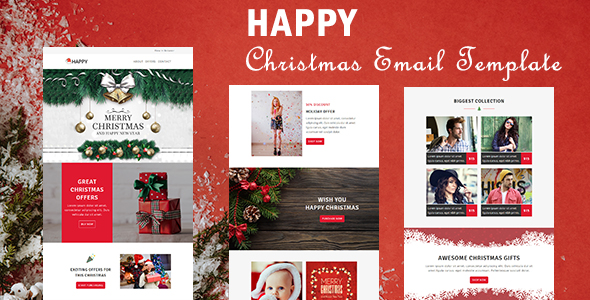 Happy - Responsive Christmas  New Year Email Templates with - merry email template