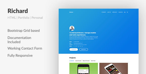 Richard \u2014 UX Designer ResumePortfolio HTML Template by Aspirity