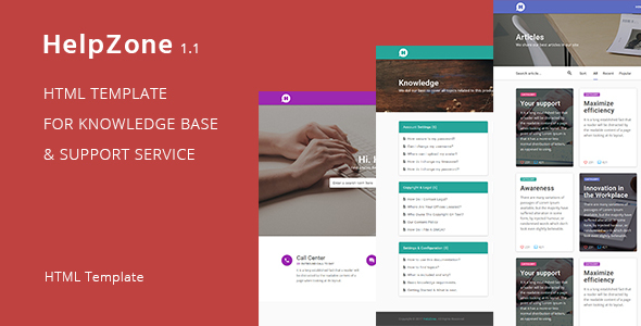 HelpZone \u2013 Knowledge Base / Support HTML Template by DmitryVolkov