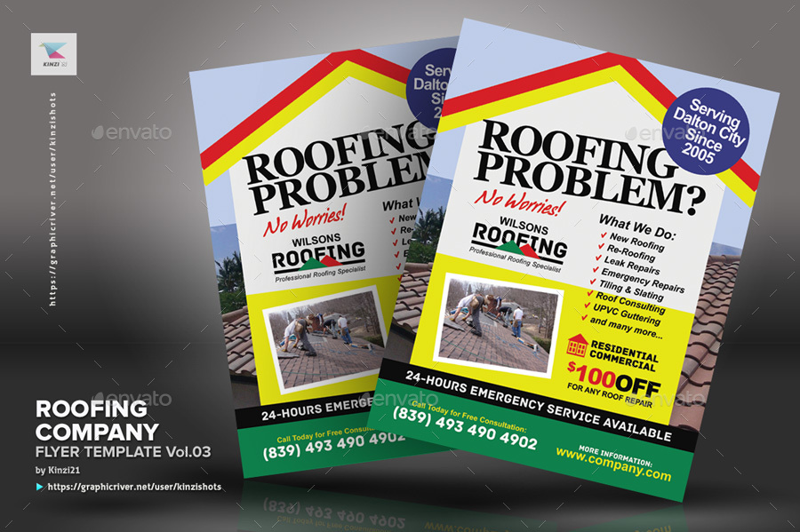 Roofing Company Flyer Template Vol03 by kinzishots GraphicRiver