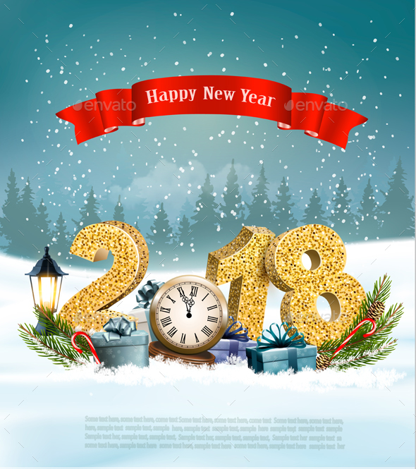 Happy New Year 2018 Background with Presents and Clock by almoond