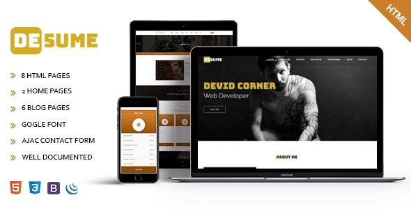 Desume - Onepage CV/Resume HTML Template by codexfusion ThemeForest