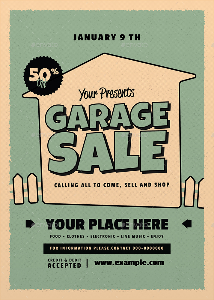 Retro Garage Sale Flyer by guper GraphicRiver