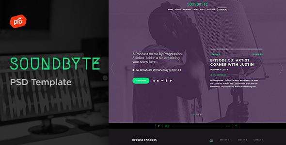 Soundbyte - Podcast/Audio PSD Template by ProgressionStudios - podcast website template
