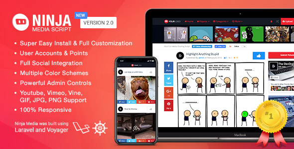 Ninja Media Script - Viral Fun Media Sharing Site by devdojo - Responsive Media