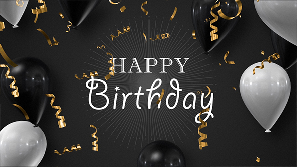 Happy Birthday - Golden Foil Confetti With Black And White Balloons